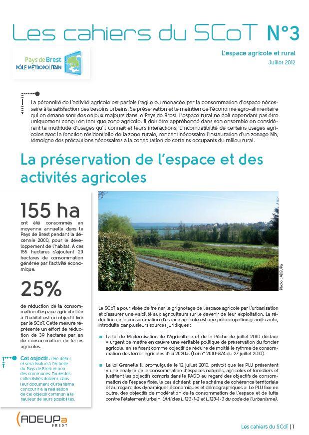 Les Cahiers du SCoT N°3 - L'espace agricole et rural : préservation de l'espace et des activités agricoles