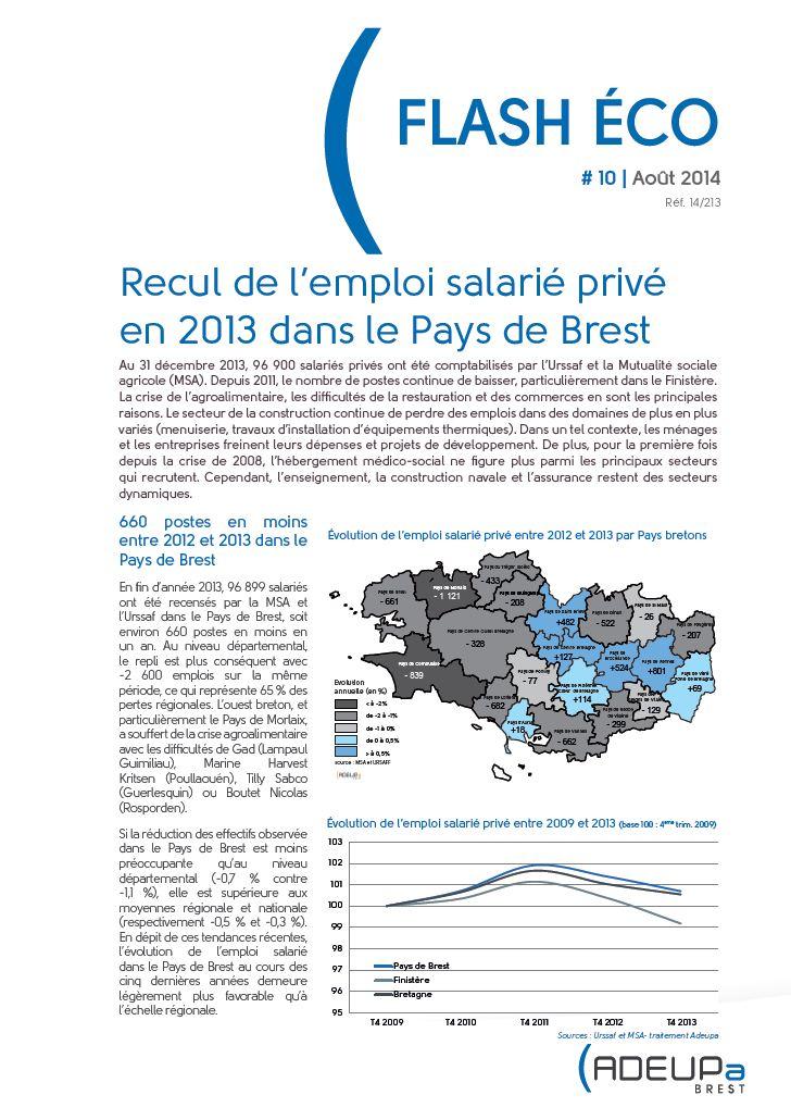 Flash Eco N°10 - Recul de l'emploi salarié privé en 2013 dans le Pays de Brest