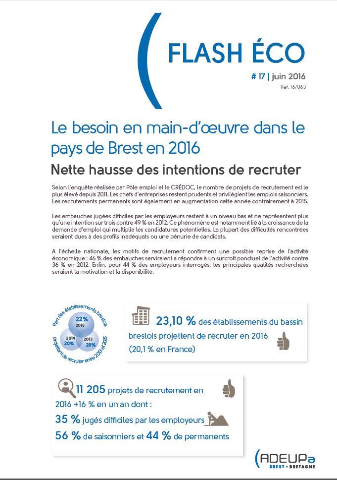 Le besoin en main-d'oeuvre dans le pays de Brest en 2016 : nette hausse des intentions de recruter