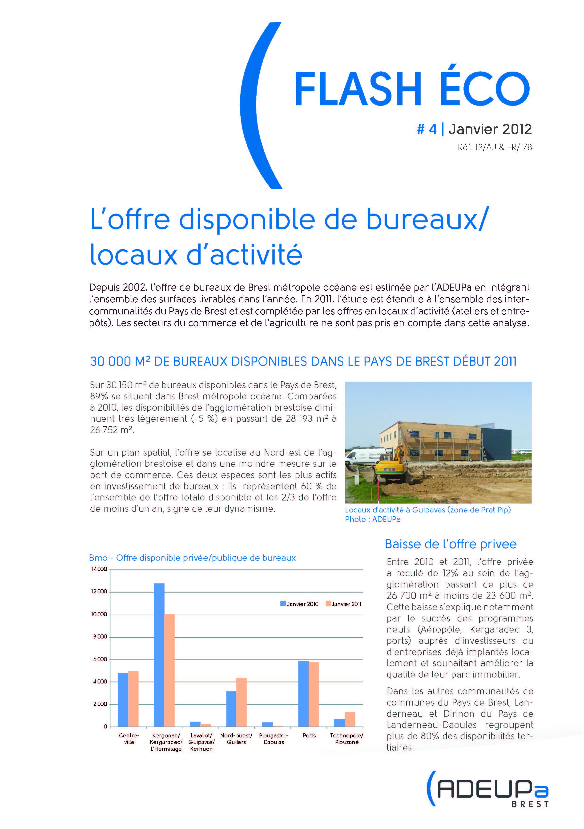 L'offre disponible de bureaux/locaux d'activité - Janvier 2012