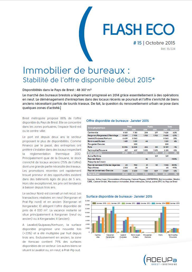 Immobilier de bureaux : Stabilité de l'offre disponible début 2015