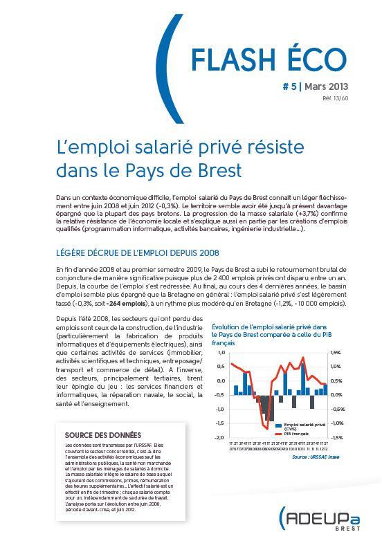 Flash Eco N°5 : L'emploi salarié privé résiste dans le pays de Brest