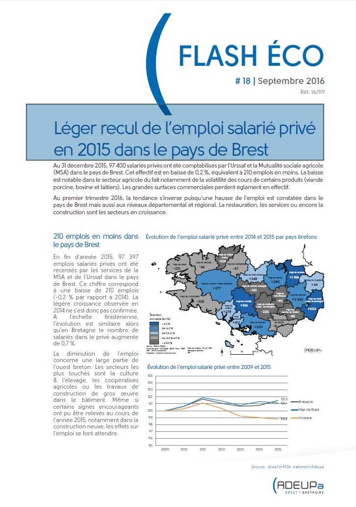 Léger recul de l'emploi salarié privé en 2015 dans le pays de Brest